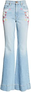 Alice & Olivia Women's Beautiful High Waist Bell Bottom Light Wash Jeans