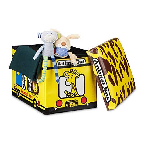 Relaxdays Coffre à jouets similicuir boîte à jouets couvercle tabouret pouf enfant pliable H x l x P: 32 x 48 x 32 cm capacité 37 L, animaux - Coloris Aléatoire