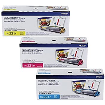 Brother Genuine TN221C, TN221M, TN221Y Color Laser Cyan, Magenta and Yellow Toner Cartridge Set