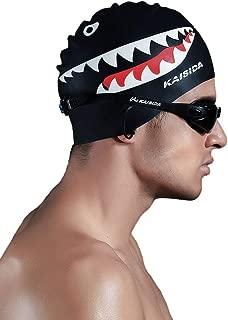Etanf Silicone Swimming Cap for Men,High Elasticity Swimming Cap,Shark Swimming Cap for Men Large Head,Swimming Cap for Men Prime for One Size Hat (Black)