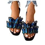 Wedge Sandals Women's Butterfly 3D Printed Open-Toed Slippers Sandals Shoes Sandals for Women Casual Summer Blue