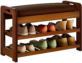 Banc de rangement de chaussures Banc de chaussures supérieur en simili cuir pour entrée, chaussures de maison, organisateu...