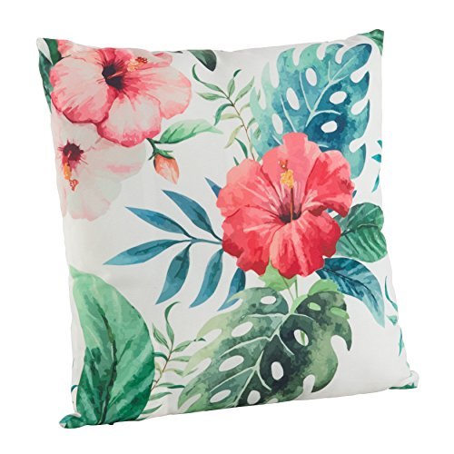SARO LIFESTYLE Indoor/Outdoor Hibiscus Floral Print Poly Filled Throw Pillow (1458.M18S), 18'