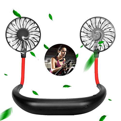 Focuses Portable Fan, Hand Held Personal Fan with Necklace Design, USB Battery Rechargeable Mini Fan 3 Speeds 360 Degree Adjustment Head for Office Travel Outdoor Camping (Black)