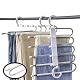 Hong Feng Pants Hangers 5 Layers Multi Functional Pants Rack Non-Slip Space Saving Clothes Closet Storage Organizer for Pants Jeans Trousers Skirts Scarf (White, 2 Pcs)