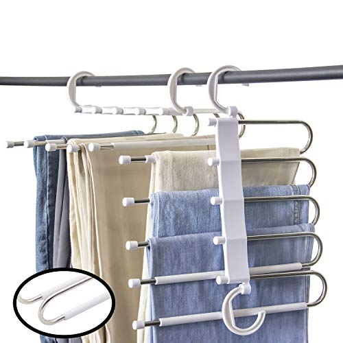 Hong Feng Pants Hangers 5 Layers Multi Functional Pants Rack Non-Slip Space Saving Clothes Closet Storage Organizer for Pants Jeans Trousers Skirts Scarf (White, 8 Pcs)