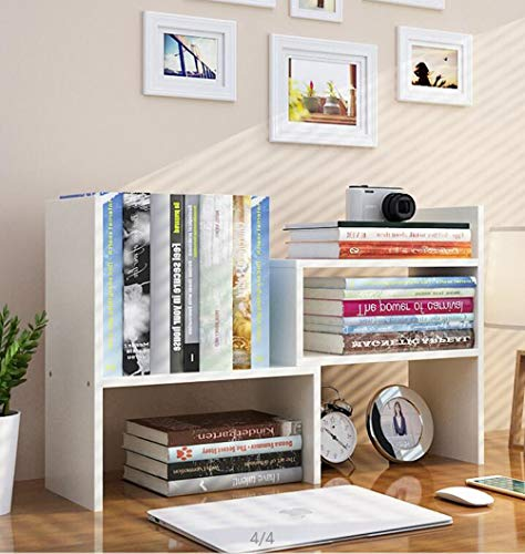 Expandable Wood Desktop Bookshelf Desktop Organizer Office Storage Rack Wood Display Shelf - Free Style Display True Natural Stand Shelf Rack Assembled Bookcase Adjustable Display Rack, White