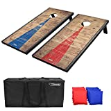 GoSports 4x2feet Classic Cornhole Set with Rustic Wood Finish | Includes 8 Bags, Carry Case and Rules, Red/Blue