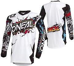 O'Neal | Camiseta de Motocross Manga Larga | MX MTB Mountainbike | Protección para los Codos cosidos, Cuello en V, Material Transpirable | Element Youth Jersey Villain | Niños | Blanco | Talla L