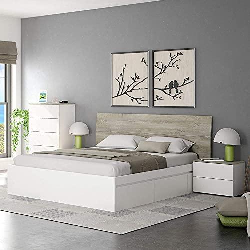 HABITMOBEL Cama Dormitorio con 4 cajones con Cabezal y mesitas Noche y Comoda 5 cajones (Todo...