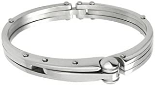 Silver-tone Stainless Steel Handcuff Bangle Bracelet 8.5