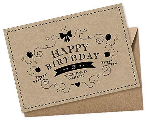 1 Geburtstagskarte Postkarte: Happy Birthday - Schön, dass es Dich gibt • Glückwunschkarte zum Geburtstag SCHWARZ NATUR • Original Kraftpapier • Beschreibbar mit weißen Marker • UMSCHLAG BRAUN