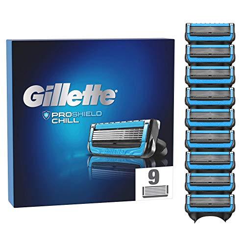 Gillette ProShield Chill Rasierklingen für Männer, 9 Stück, mit 5 Anti-Irritations-Klingen