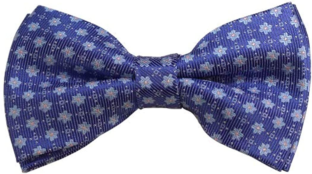 Sky Blue W/Pink Dot And Steel Blue Floral Woven Pre-Tied Bow Tie