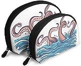 Ches Shell Bolsa portátil con cremallera 2 bolsos, apto para cosméticos de mujer, bolsos/bolsos, accesorios para mujeres, tentáculo de pulpo en el mar bajo el agua