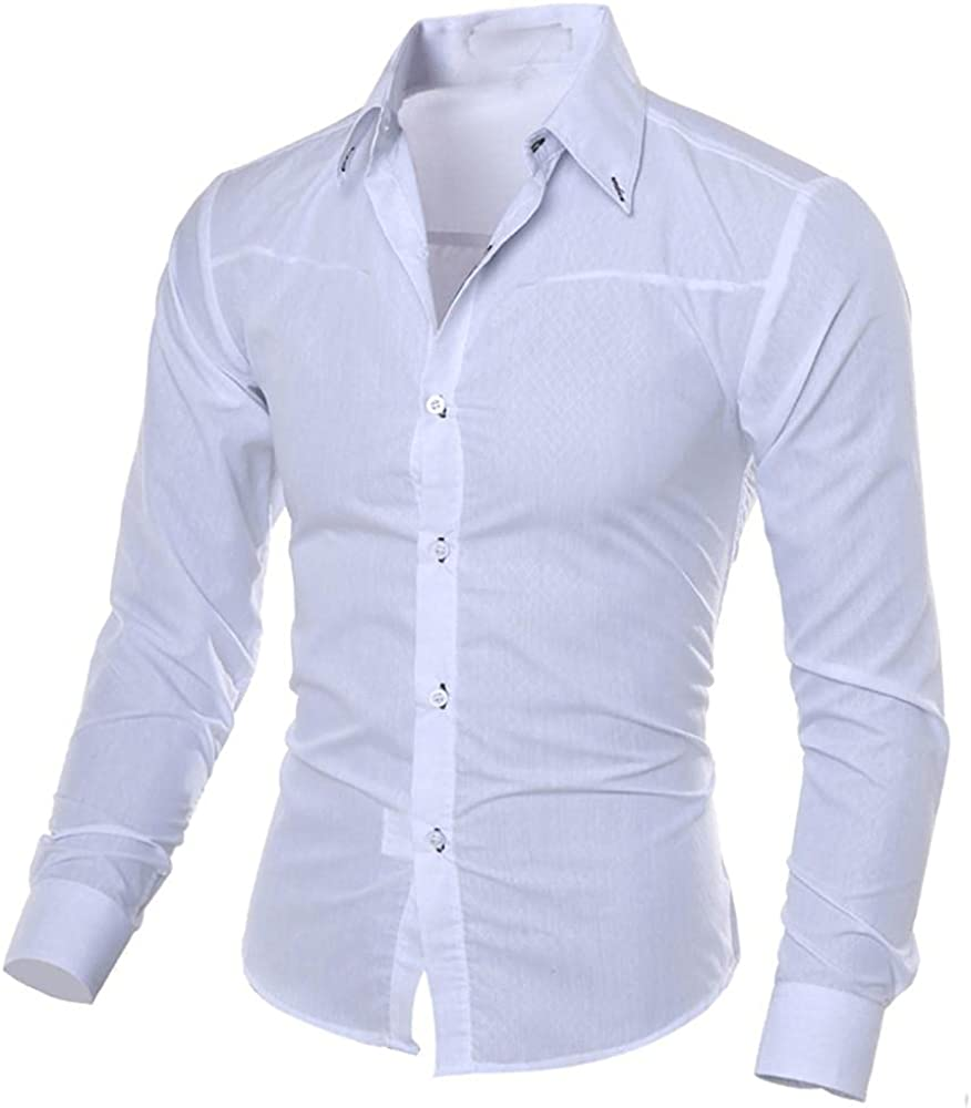 KEEYO Mens Casual Slim Fit Dress Shirts Wrinkle Free Long Sleeve Work Business Formal Cotton Button Down Shirts Tops(02-White,X-Large)