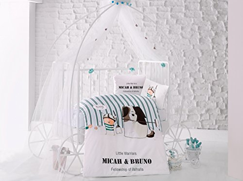 Bruno Vert Lit pour bébé Housse de couette, 100% coton doux et Sain Parure de lit 4 pièces