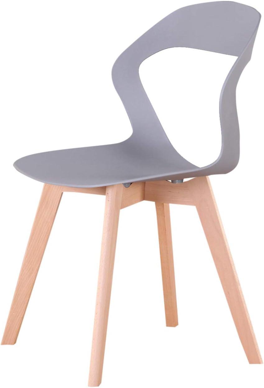 GroBKau Lot de 4 Chaises à Dossier en Plastique Moderne pour Salon, Salle à Manger, Bureau, Salle de Réunion, Restaurant, etc. (Noir) Gris