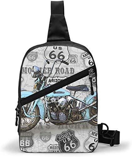 Vintage Motorcycle on Route 66 Sling Bag,Crossbody Shoulder Chest Outdoor Hiking Travel Personal Pocket Bag for Women Men Water Resistance