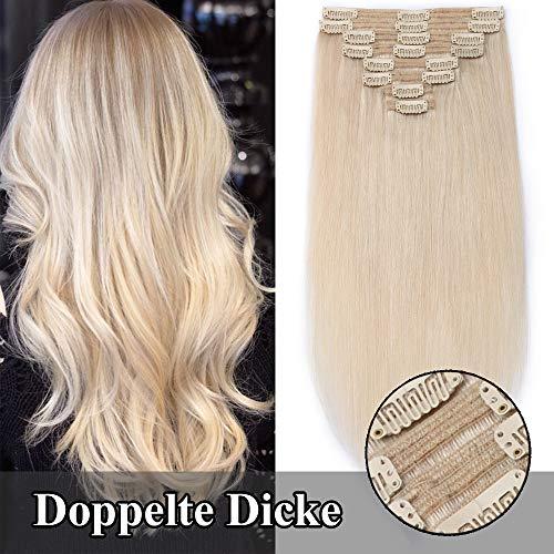 TESS Clip in Extensions Echthaar Haarteile guenstig Haarverlängerung Doppelt Tressen für komplette Haarextension 8 Teile 18 Clips Glatt 7A Dick Hair (50cm-160g, 70 Flachsblond)