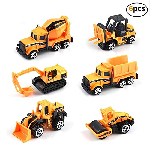 Kids Construction Toys - Kids Birthday Gifts, 6 Pcs Play Trucks Toy Construction Truck Toddlers Boys Small Kid Toys Mini Car Toys Set Die Cast Engineering Excavator Digger Push Trucks