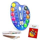 PRIMO Caja de pintura para niños – 12 colores, 5 pinceles, vaso para pinceles, paleta de mezclas