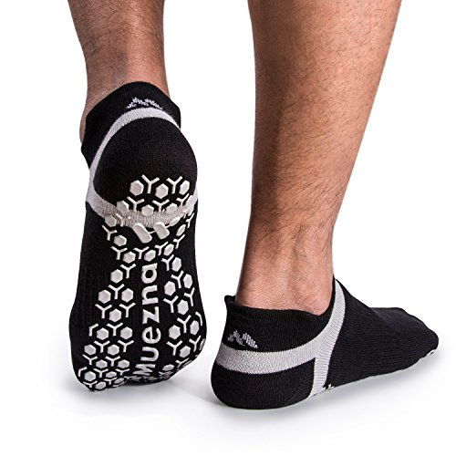 yoga socks Muezna Men's Non-Slip Yoga Socks, Anti-Skid Pilates, Barre, Bikram Fitness Hospital Slipper Socks with Grips