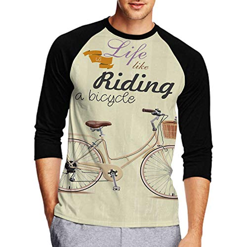 Bicycle with Lavender in Basket.P Style,Couple Casual 3D Print Long Sleeve T-Shirt Tees M