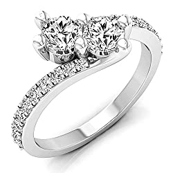 Dazzlingrock Collection 1.00 Carat (ctw) 14K Gold Round White Diamond Ladies Two Stone Bypass Style Bridal Engagement Ring 1 CT