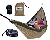 Trek Light Gear Double Hammock - The Original Brand of Best-Selling Lightweight Nylon Hammocks - Extra Wide for the Most Comfort - Use for All Camping, Hiking and Outdoor Adventures {Black/Orange}