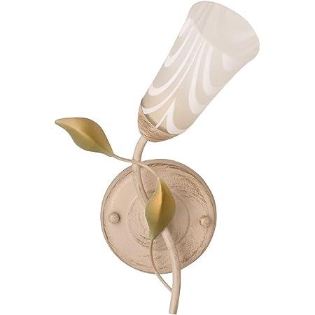 DeMarkt 242025701 Applique Murale Intérieure Design Floral en Métal couleur Crème Dorée Abat-jour en Verre Mat décorée de Feuilles pour Chambre à Coucher 1x60W E14