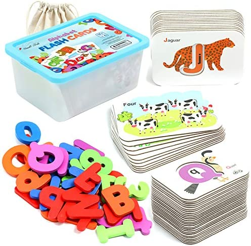 Alphabet and Number Flash Cards for Toddlers and Kids 2 5 Years Old 2 in 1 Wooden ABC Jigsaw product image