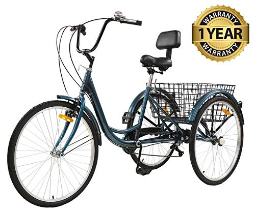 Sibosen Adult Tricycles for Women/Men, 7 Speed Adult Mountain Bikes Tricycles 24 Inch 3 Wheeled Mountain Trike Bicycles w/Carbon Steel Low Step-Through Frame Folding Basket - USA Warehouse Delivery