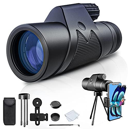Monocular Starscope telescopio – 12 x 42 High Power HD monocular con soporte para smartphone y trípode impermeable Monocular con para la observación de aves, camping, senderismo, viajes, caza