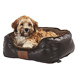 Bunty Tuscan Faux Leather Soft Fur Fleece Large Dog Bed Pet Cat Basket