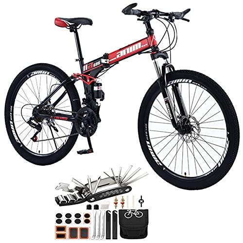 Tbagem-Yjr Bicicleta de montaña Plegable de la Bicicleta 26in de la suspensión Plegable, 21-30 velocidades MTB Rueda de Radio Montaña Bicicletas con Frenos de Disco Accesorios para Herramientas