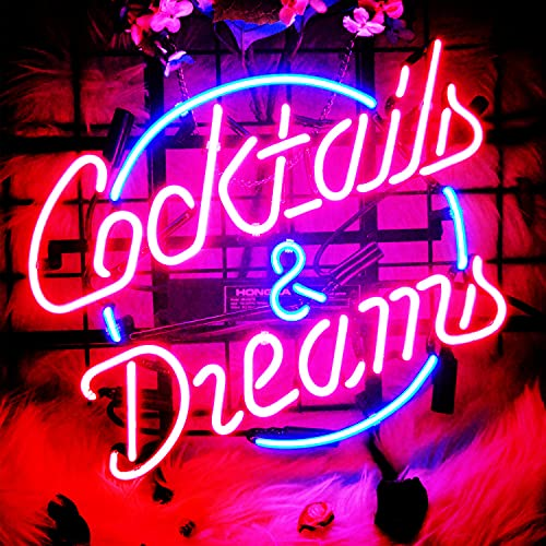 Neon Light Sign Cocktails and Dreams Neon Signs Real Glass Neon Sign Bar Signs Neon Lights for Bedroom Beer Bar Home Hanging Custom Neon Sign for Wall Decor Halloween Christmas Signs 17x14 Inch