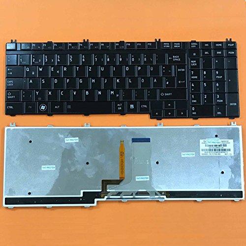 kompatibel für Toshiba Qosmio X305, X500 Tastatur - Farbe: schwarz - Tasten: glänzend - mit Beleuchtung - Deutsches Tastaturlayout