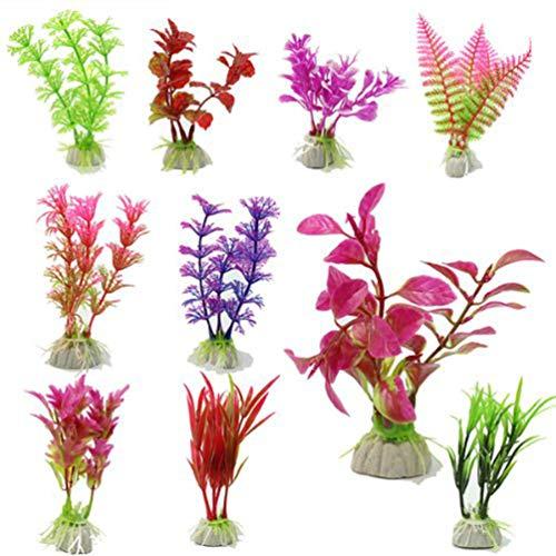 Tehaux 10 peças de plantas hidropônicas artificiais simulação de plantas de aquário para decoração de grama de água para ornamento de paisagem subaquática (cor aleatória)