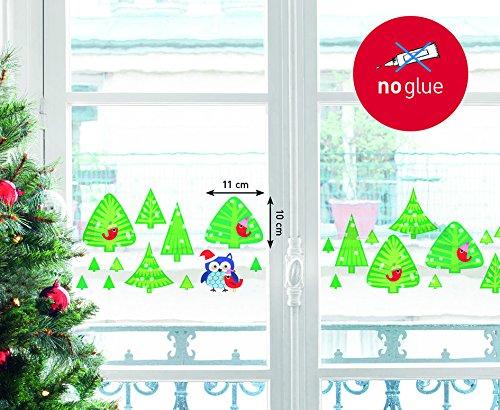 NOUVELLES IMAGES 170.001962.05 Stickers Design Forêt de sapins/Chouette de Noël, Polyvinyle, Multicolore, 36 x 24 x 0,02 cm
