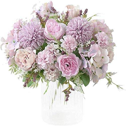 yueyue947 / Flores Artificiales, peonía Falsa, Hortensia de Seda, decoración de Ramo, claveles de plástico, arreglos, decoración de Bodas, centros de Mesa, 2 Paquetes de Color púrpura Claro
