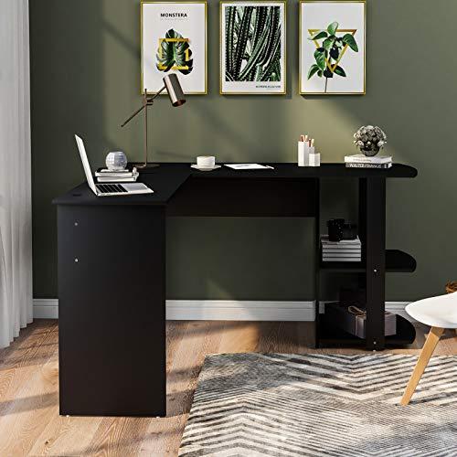 HANTURE Escritorio moderno para computadora en forma de L con 2 estantes compacto para oficina en casa o oficina, mesa de trabajo para espacio pequeño (negro)