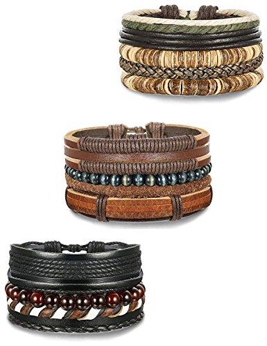 Besteel 12PCS Leather Bracelets Set for Men Women Wood Beads Braided...