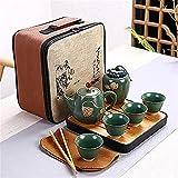 YWYU Tetera de cerámica una Olla Cuatro Taza de Viaje al Aire Libre Estilo Kung fu Tetera Bolsa de Asas de Taza de Viaje Conjunto tcup Kung fu Juego de té Chino Juego de té de Vino (Color : Green)