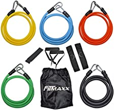 Fitmaxx 11 Pcs Resistance Band Set Stackable with Cushioned Handles, Ankle Straps, Door Anchor, Carrying Bag and a Quick Workout Guide For Gym Fitness, Exercises, Daily Workout