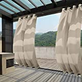 Macochico Outdoor Windproof Curtains Thermal Insulated Noise Reducing Waterproof Blackout Draperies Grommet at Top and Bottom for Patio Porch Gazebo Garden Beige 52W x 84L (1 Panel)