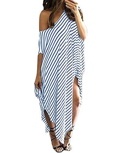 Kidsform Women's Off Shoulder Striped Long Dress Side Split Oversized Casual Loose Summer Maxi Dresses Light Blue 2XL