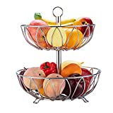 Rice rat Kitchen Counter Top 2 Tier Fruit Basket Bowl Fruit Bread Organizer Storage Holder Stand with Modern Design for Gift Home Party Iron Silver (Chrome)