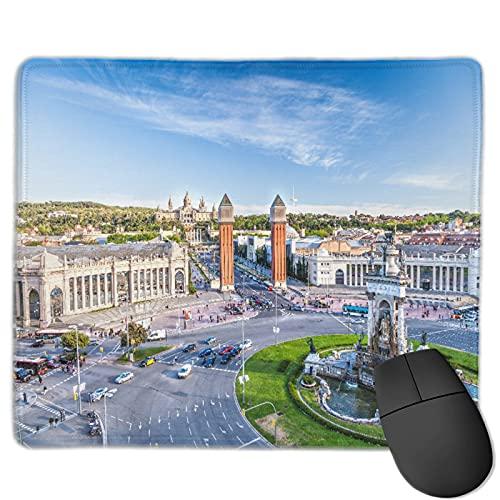 Gaming Mouse Pad Benutzerdefiniert,Stadtansicht des Zentrums Barcelona Spanien Panorama Bus Kathedrale Brunnen Reise,Office Rectangle rutschfeste Gummi-Mauspad für Computer Laptop 9.8
