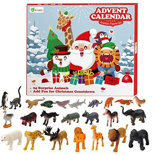 D-FantiX Kids Christmas Advent Calendar 2020 Realistic Animal Figurine Toys Advent Calendar Xmas 24 Days Countdown to Christmas Boys and Girls